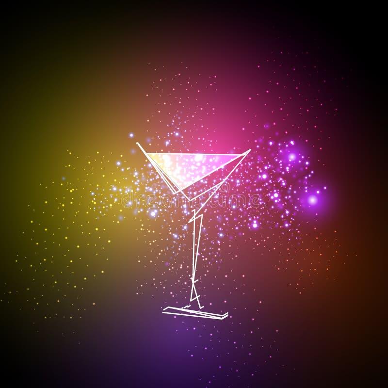 Fondo al neon del menu di progettazione del cocktail illustrazione di stock