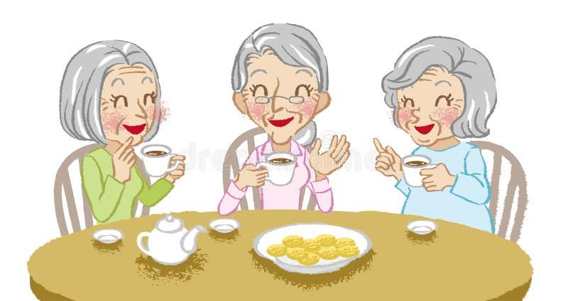 Fondo alegre del blanco del tiempo del té de las mujeres mayores ilustración del vector