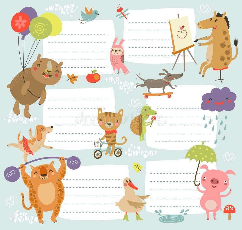 Fondo alegre del horario con los caracteres lindos ilustración del vector