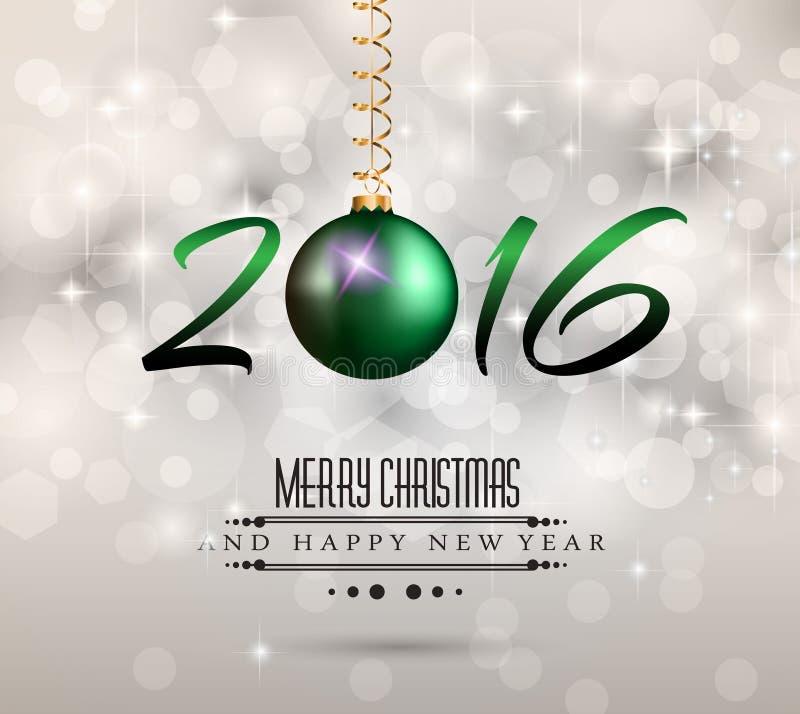 2016 fondo allegro del buon anno e di Chrstmas per i vostri inviti della cena royalty illustrazione gratis