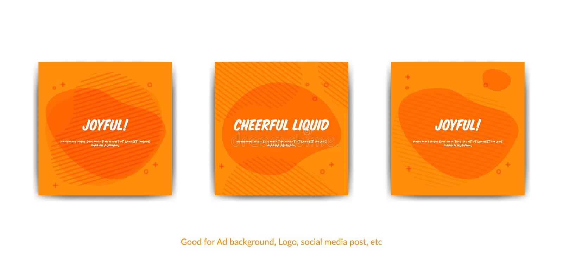 Fondo allegro allegro Insieme del fondo arancio per le coperture, cartolina d'auguri, posta sociale di media, manifesto di stile  illustrazione vettoriale