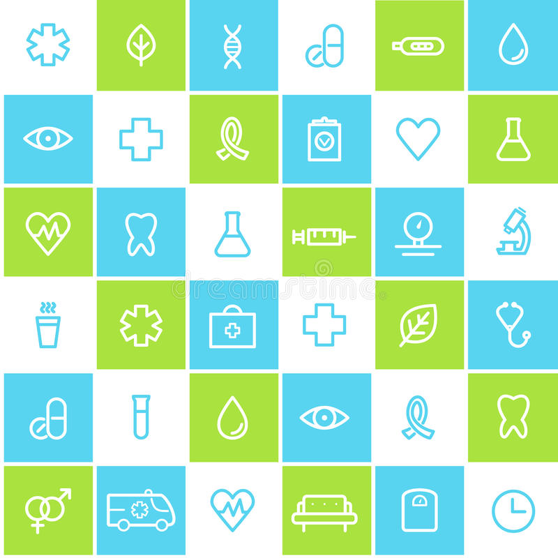Fondo allineato senza cuciture di sanità e medico delle icone illustrazione vettoriale