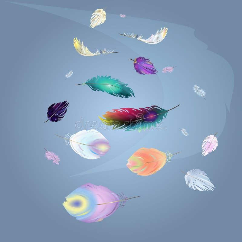 Fondo altísimo multicolor de las plumas stock de ilustración