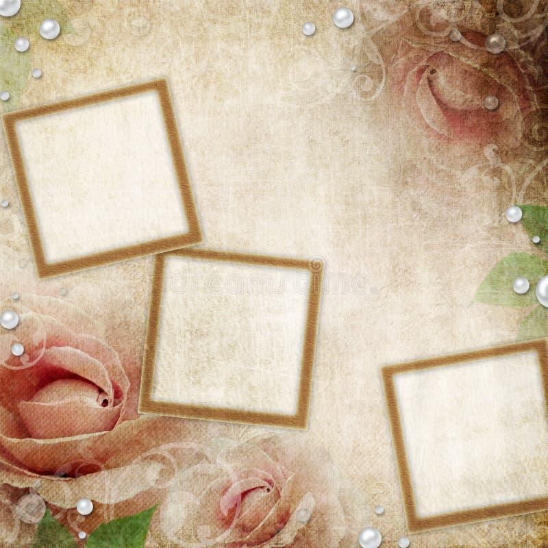Fondo amarillento de la boda de Grunge libre illustration