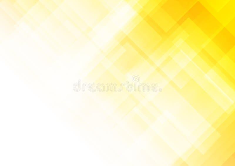 Fondo amarillo abstracto con formas cuadradas stock de ilustración
