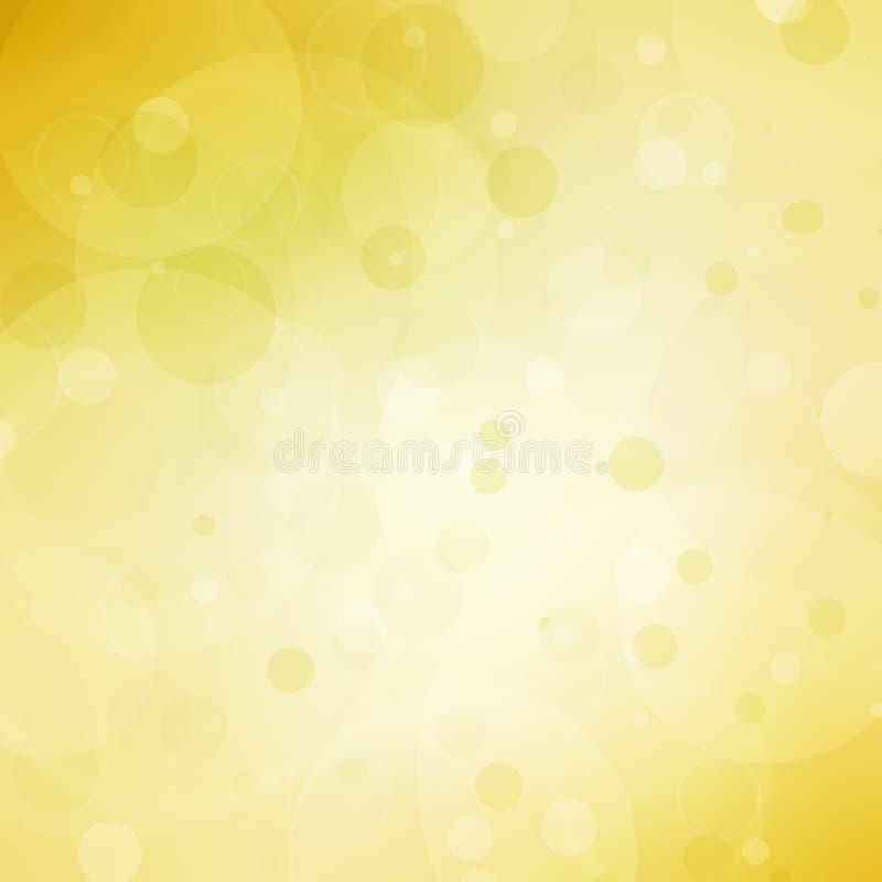 Fondo amarillo abstracto con las luces de la burbuja del bokeh y el copyspace de centro blanco stock de ilustración