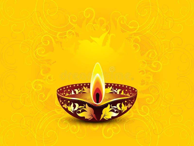 Fondo amarillo artístico abstracto del diwali ilustración del vector