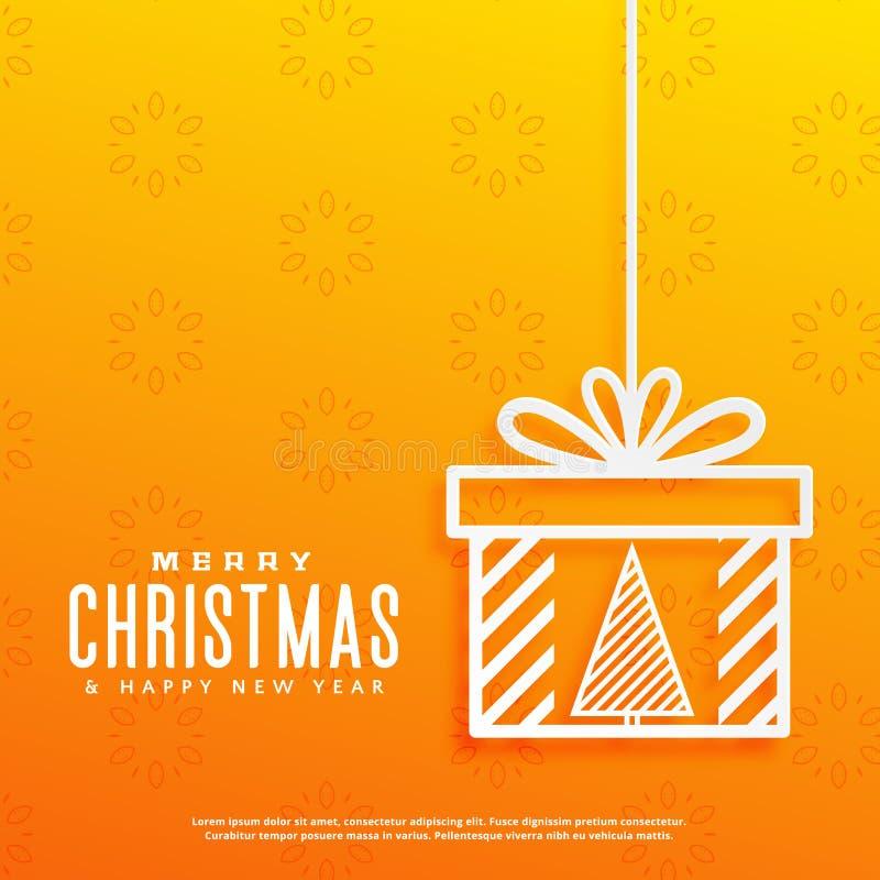 Fondo amarillo con el árbol de navidad dentro de un diseño de la caja de regalo ilustración del vector
