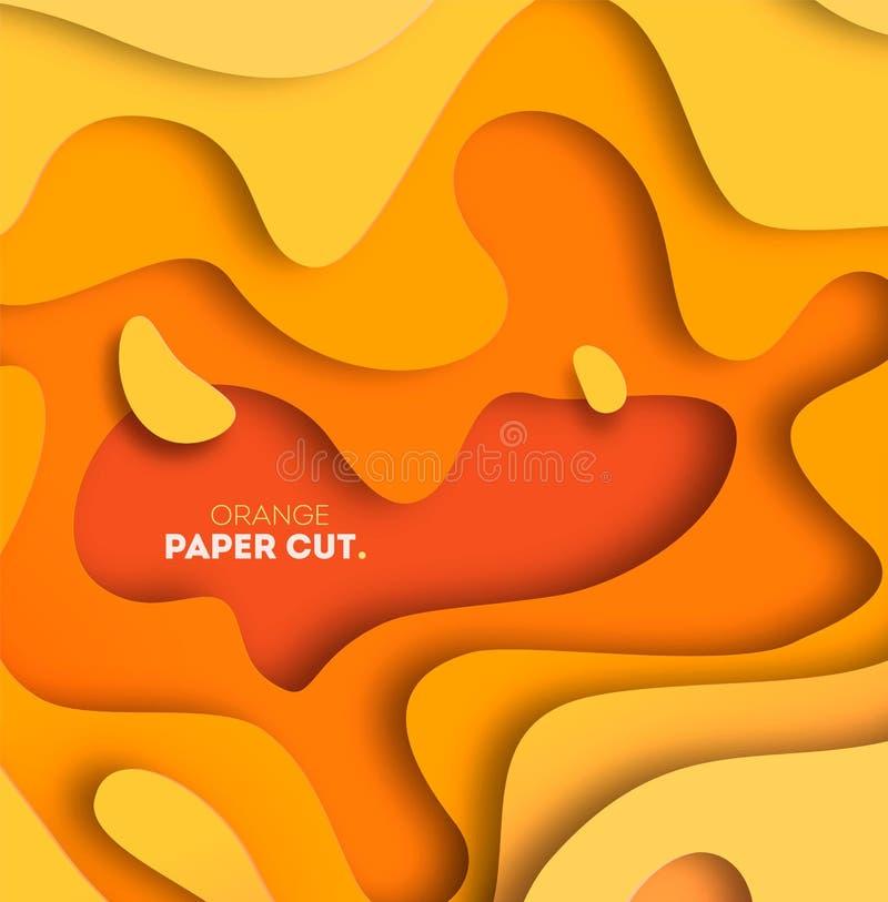 Fondo amarillo con formas del corte del papel Ilustración del vector extracto 3D que talla arte libre illustration