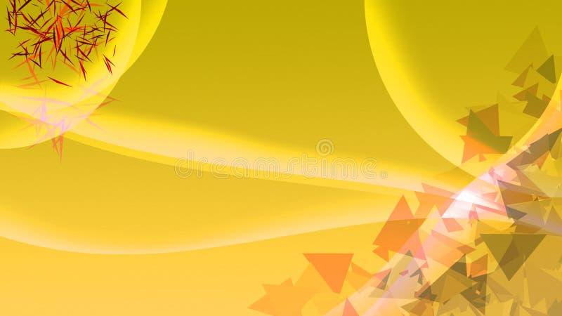 Fondo amarillo con las curvas y los triángulos fotos de archivo