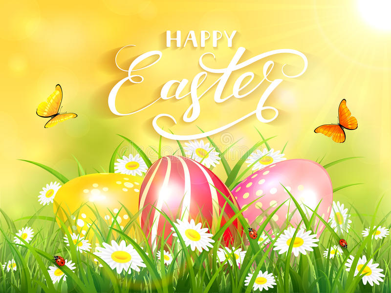 Fondo amarillo con tres huevos de Pascua en hierba libre illustration