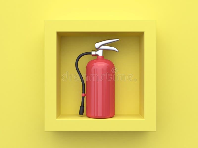 Fondo amarillo 3d que rinde el extintor dentro del marco cuadrado stock de ilustración