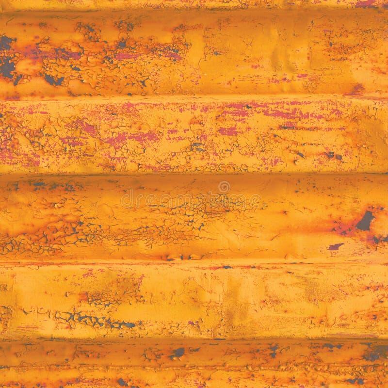 Fondo amarillo de contenedor de mar del grunge, modelo acanalado oxidado oscuro, cartilla roja que cubre el acero detallado aherr foto de archivo libre de regalías