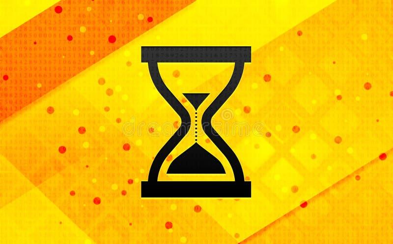 Fondo amarillo de la bandera digital del extracto del icono del reloj de arena de la arena del contador de tiempo ilustración del vector