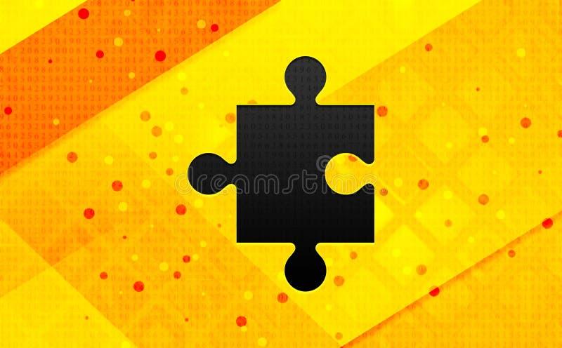 Fondo amarillo de la bandera digital del extracto del icono del rompecabezas stock de ilustración
