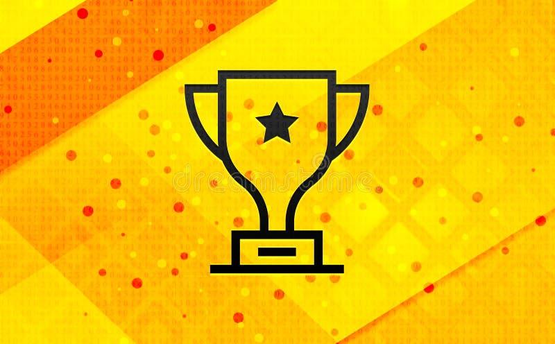 Fondo amarillo de la bandera digital del extracto del icono del trofeo ilustración del vector