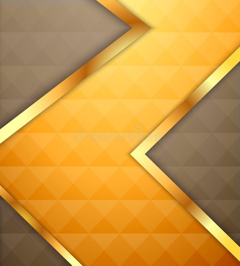 Fondo amarillo de la flecha del triángulo con el polígono stock de ilustración