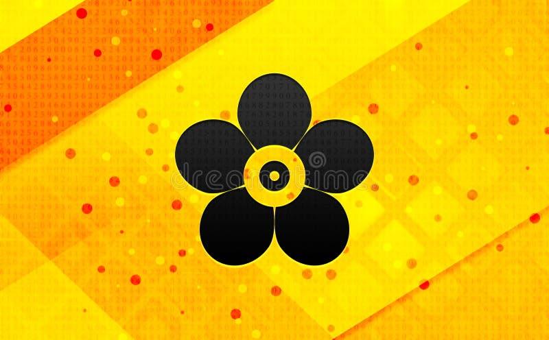 Fondo amarillo de la flor del icono de la bandera digital frondosa del extracto stock de ilustración