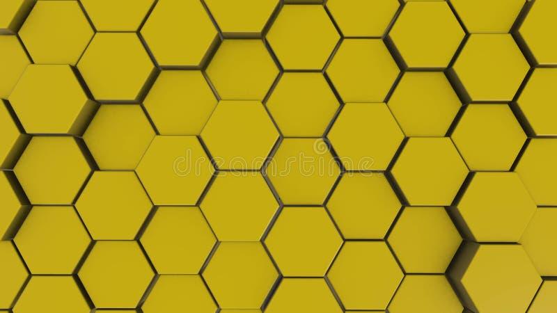 Fondo amarillo de la geometría del hexágono ejemplo 3d de primitivos simples con seis ángulos en frente stock de ilustración