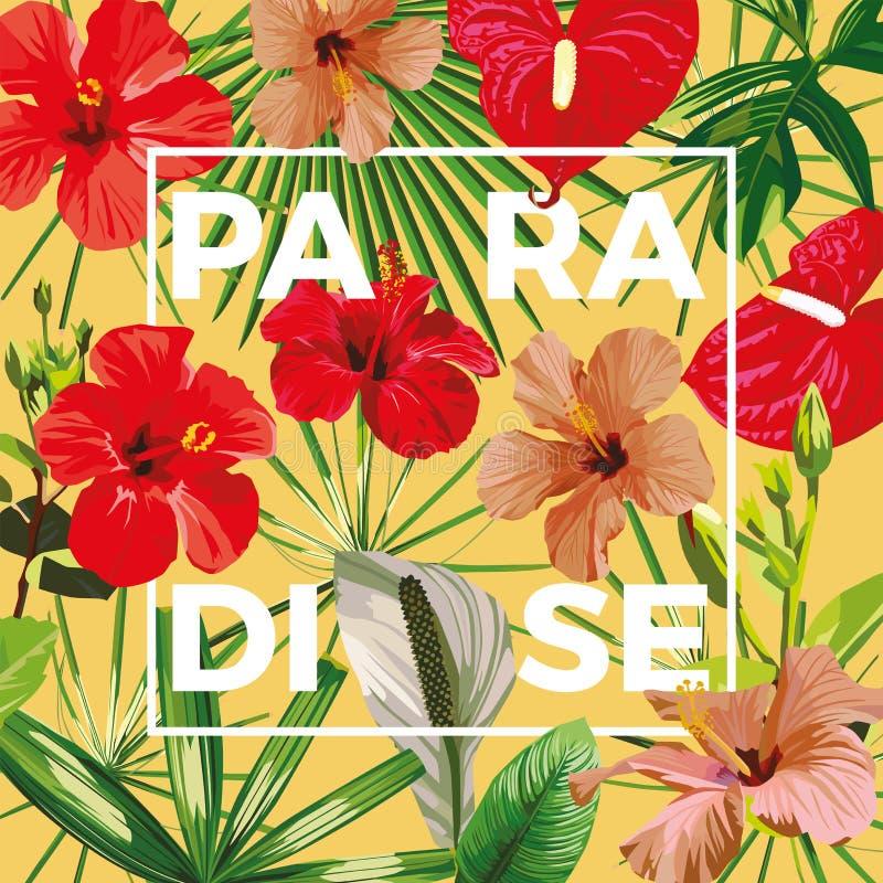 Fondo amarillo de las hojas de las flores de paraíso del lema libre illustration