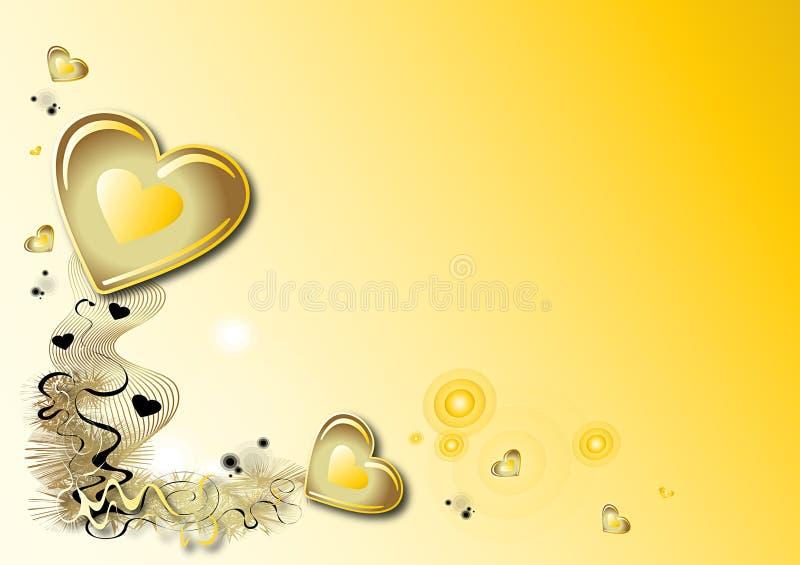 Fondo amarillo de las tarjetas del día de San Valentín ilustración del vector