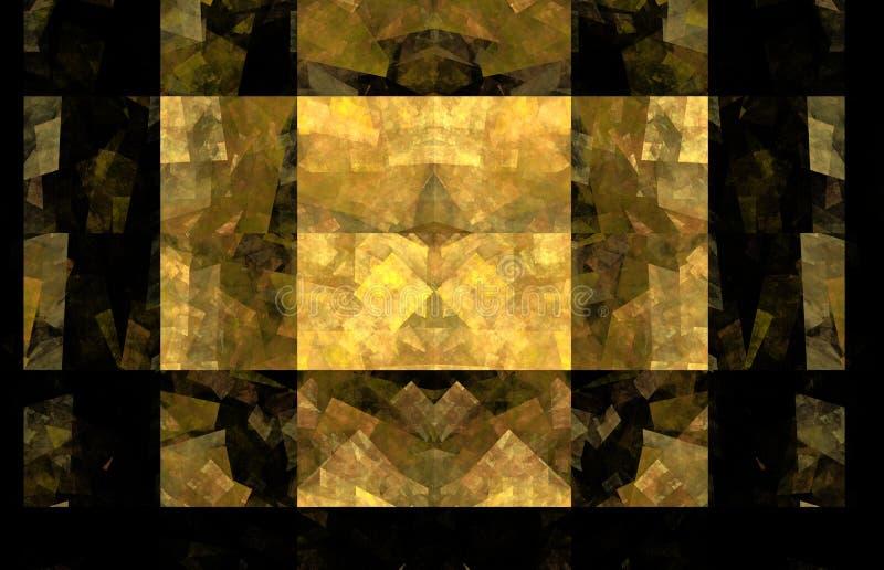 Fondo amarillo del fractal de la teja Textura del fractal de la fantasía Arte de Digitaces representación 3d Imagen originada en  ilustración del vector