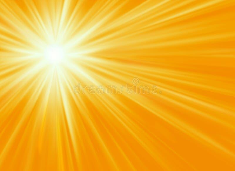 Fondo amarillo del resplandor solar ilustración del vector