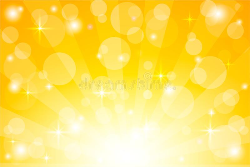 Fondo amarillo del starburst con las chispas El sol brillante irradia el ejemplo del vector con las luces del bokeh libre illustration