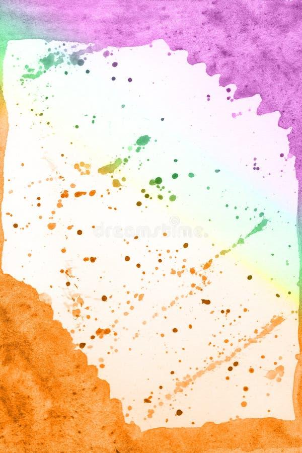 Fondo amarillo-naranja verde violeta dibujado mano abstracta de la acuarela, ejemplo de la trama libre illustration