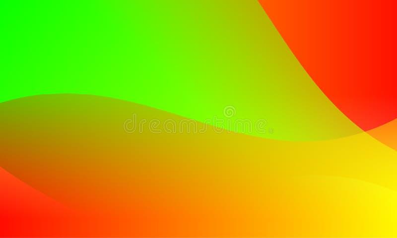 Fondo amarillo rojo brillante de colores verdes del extracto Ilustración del vector stock de ilustración