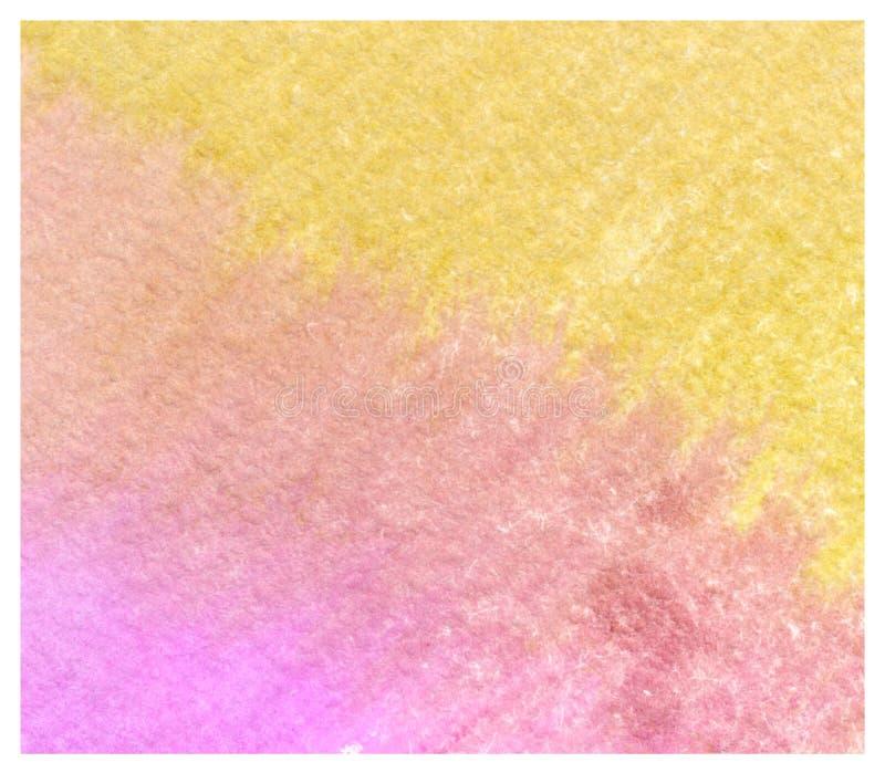 Fondo amarillo rosado colorido de la acuarela del extracto stock de ilustración