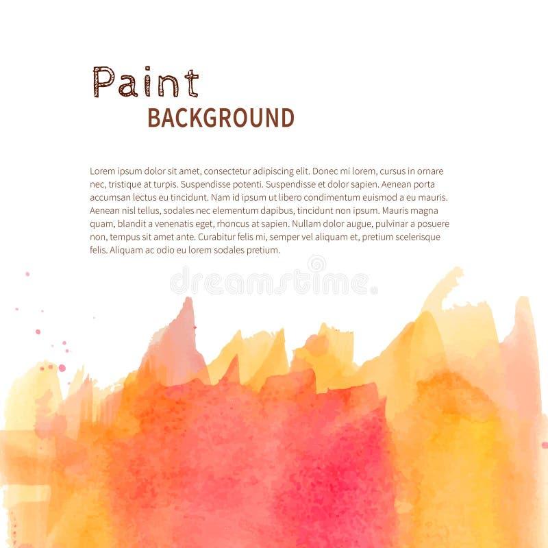 Fondo amarillo rosado de la pintura de la acuarela stock de ilustración