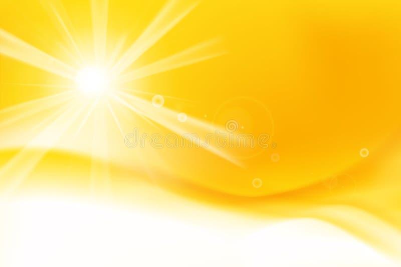 Fondo amarillo y anaranjado abstracto con luz del sol y el EL de la llamarada libre illustration