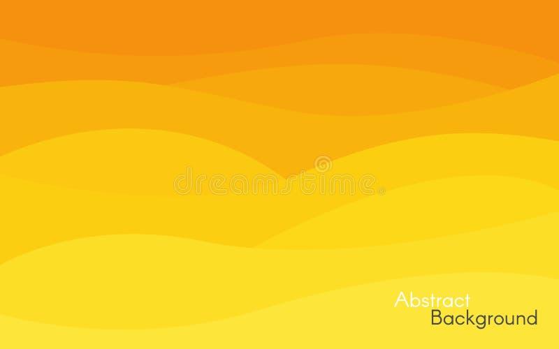 Fondo amarillo y anaranjado abstracto Diseño brillante de las ondas Contexto minimalista para el sitio web, cartel, tarjeta liso stock de ilustración