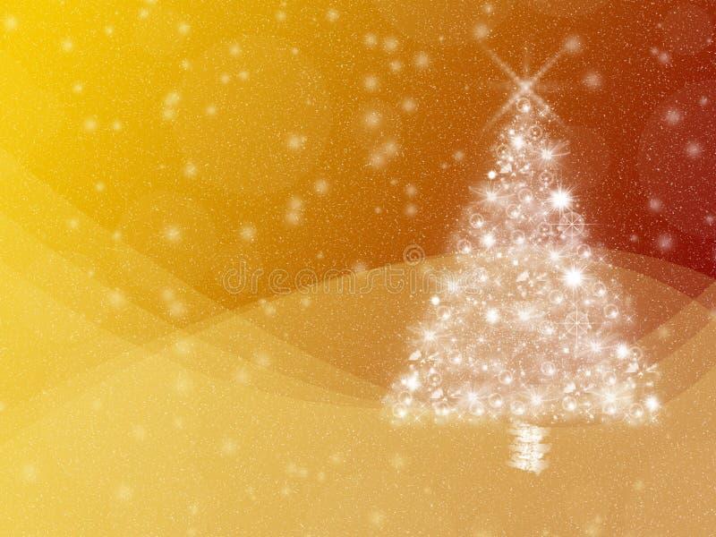 Fondo amarillo y anaranjado caliente de las vacaciones de invierno, con el árbol de navidad y el copyspace blancos stock de ilustración