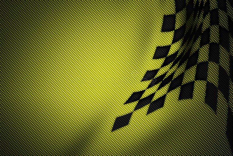 Fondo amarillo y negro de la fibra de carbono stock de ilustración