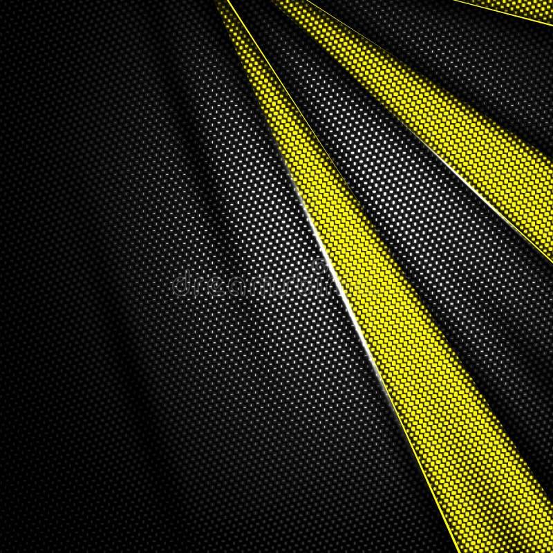 Fondo amarillo y negro de la fibra de carbono ilustración del vector