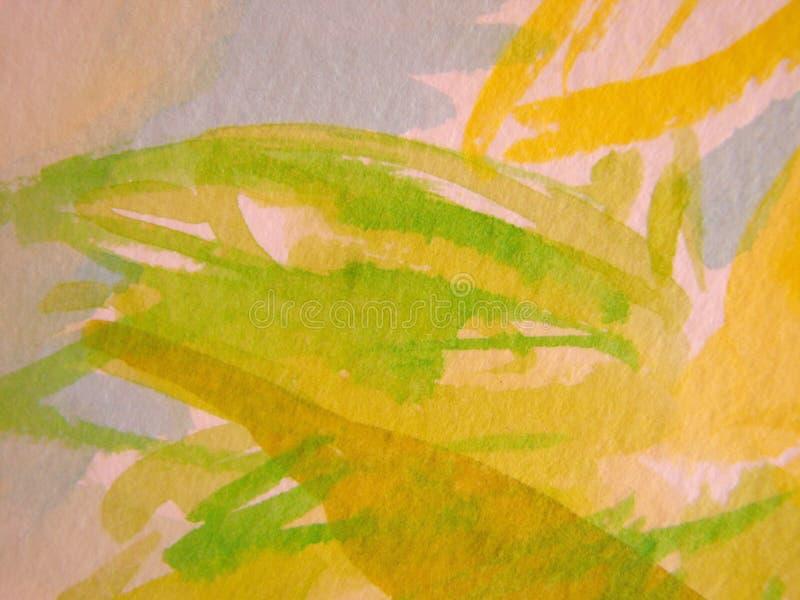Fondo amarillo y verde de la acuarela libre illustration