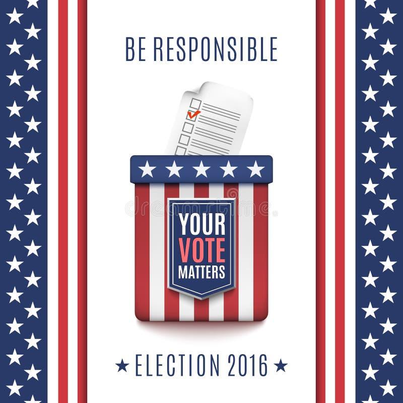 Fondo americano 2016 de la elección con la urna ilustración del vector