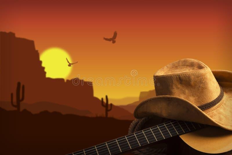 Fondo americano de la música country con el sombrero de la guitarra y de vaquero