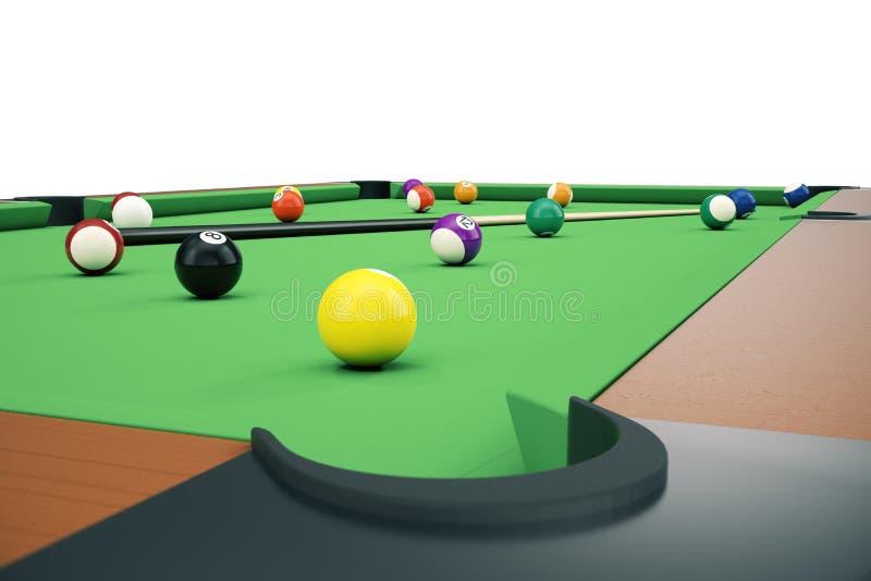 fondo americano de las bolas del billar de la piscina del ejemplo 3D Billar americano ciérrese encima de bolas de billar Juego de ilustración del vector