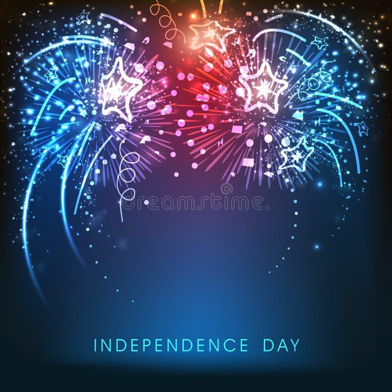 Fondo americano di celebrazione di festa dell'indipendenza con i fuochi d'artificio royalty illustrazione gratis