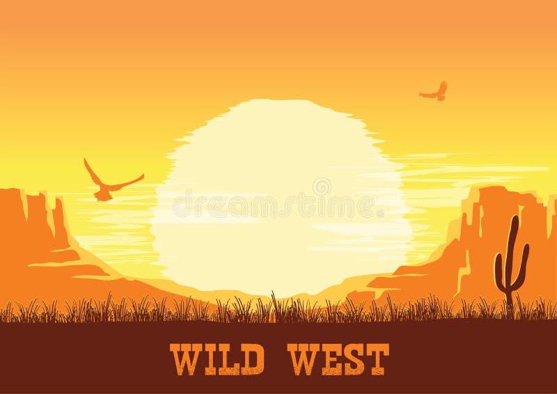 Fondo americano occidentale della natura del deserto illustrazione di stock