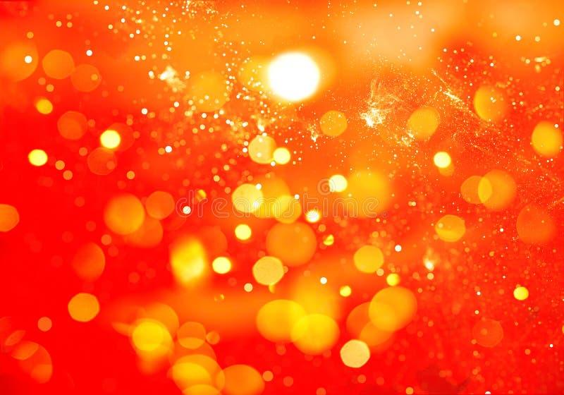 Fondo anaranjado abstracto del bokeh y del brillo foto de archivo libre de regalías