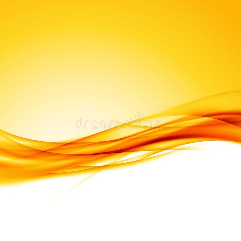 Fondo anaranjado brillante de la frontera de la onda de Swoosh stock de ilustración