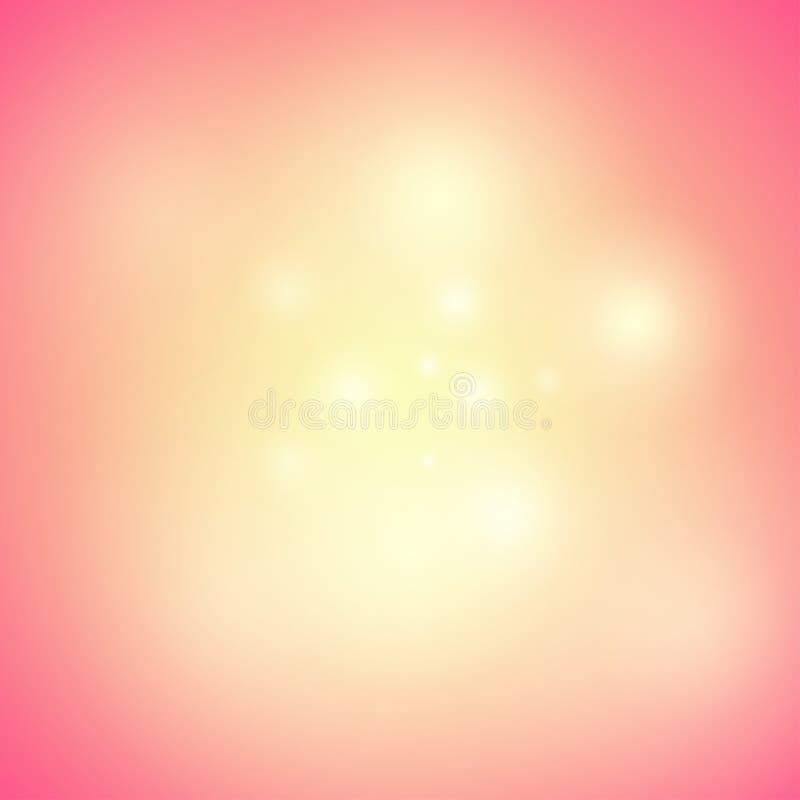 Fondo anaranjado caliente con resplandor, brillo y brillos - ejemplo del día de fiesta del vector con humor mágico ilustración del vector