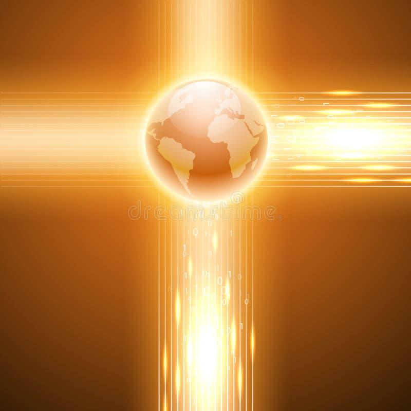 Fondo anaranjado con código binario al globo stock de ilustración
