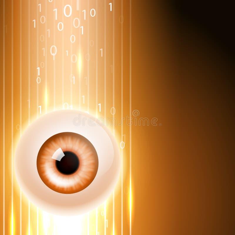 Fondo anaranjado con el ojo y el código binario libre illustration