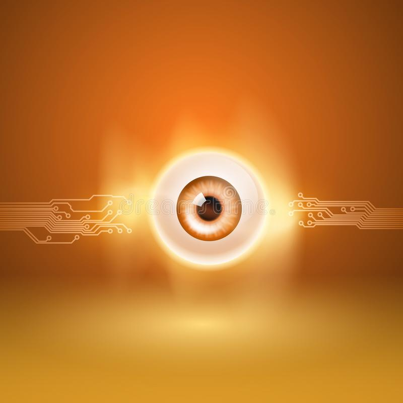 Fondo anaranjado con el ojo y el circuito ilustración del vector