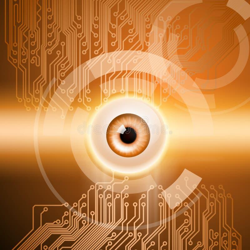 Fondo anaranjado con el ojo y el circuito stock de ilustración